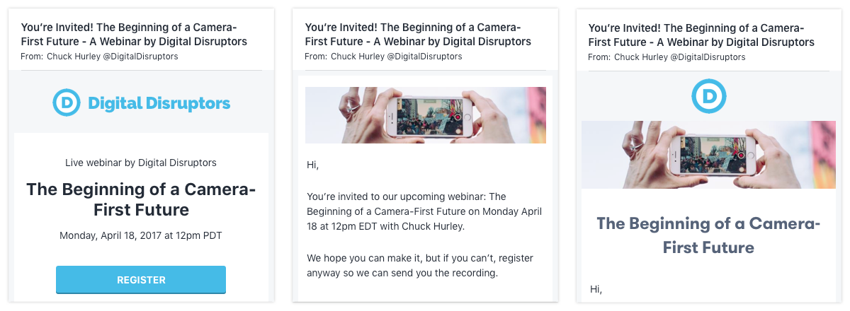 customize your webinar invitation with banner images and header text